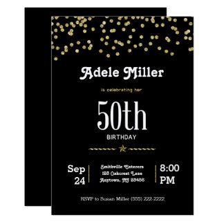 Customisable 50th Birthday with Glittering Gold Card