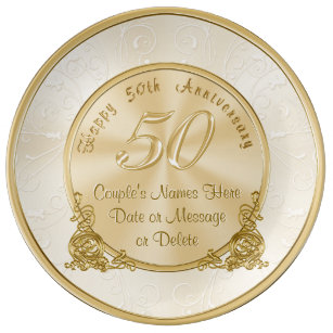 Customisable 50th Wedding Anniversary Gifts Plate