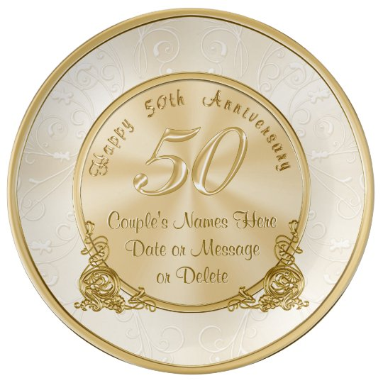 Customisable 50th Wedding Anniversary Gifts Porcelain Plates