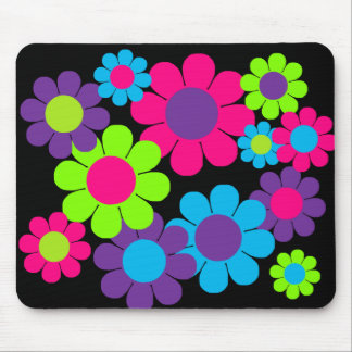 Customisable 60s Flower Power Mouse Pads