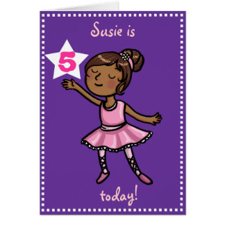 Customisable age Cartoon Ballet Dancer Greeting Card