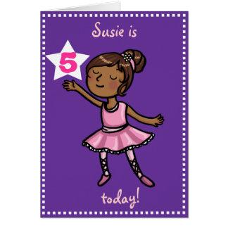 Customisable age Cartoon Ballet Dancer Greeting Cards