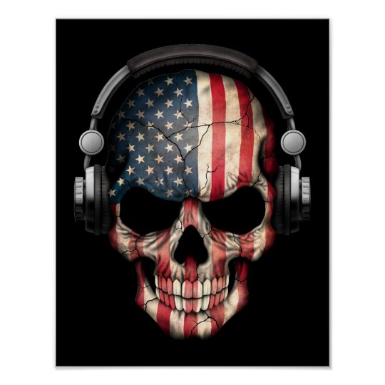 Customisable American Dj Skull with Headphones Poster