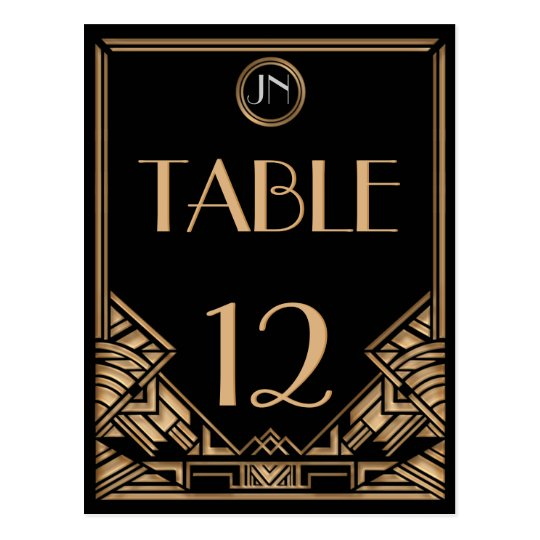 Customisable Art Deco Gatsby Style Table Numbers Postcard