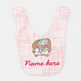 Customisable baby girl bib with cute puppy dog