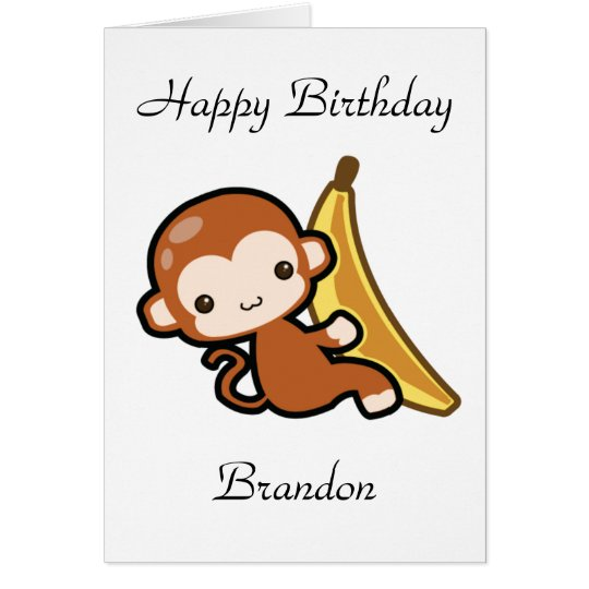 Customisable Baby Monkey Whit A Banana Birthday Card
