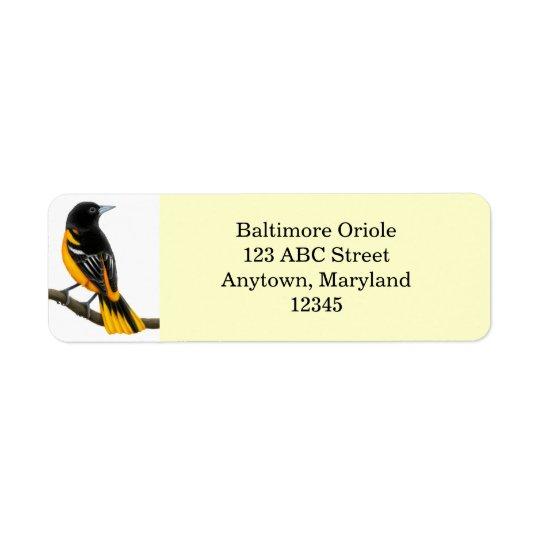 Customisable Baltimore Oriole Bird Avery Label