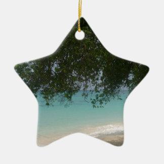 Customisable Barbados Beach Ceramic Star Decoration