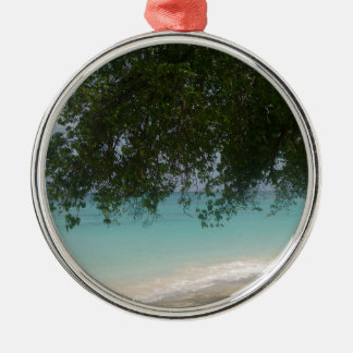 Customisable Barbados Beach Silver-Colored Round Decoration