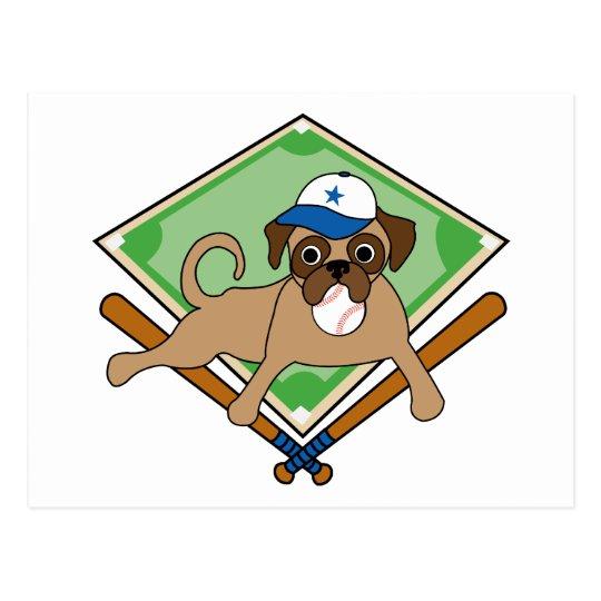 Customisable Baseball Pug Gifts and Tees Postcard