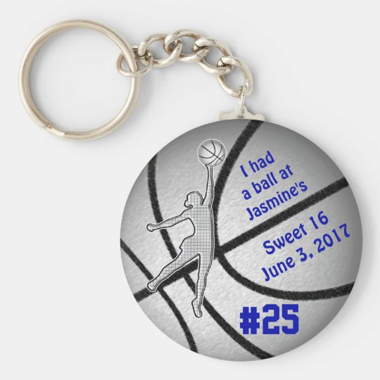 Customisable Basketball Party Favours for Girls Key Ring
