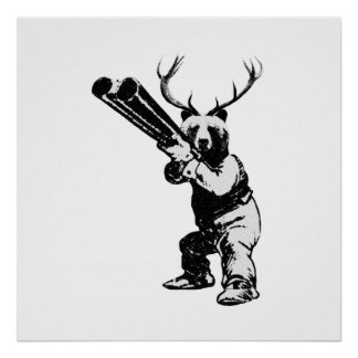 Customisable Bear Hunter Man Cave Poster