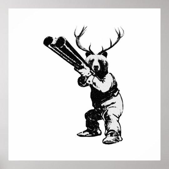 Customisable Bear Hunter Man Cave Poster