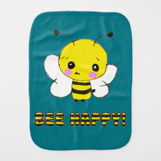 Customisable bee happy burp cloth