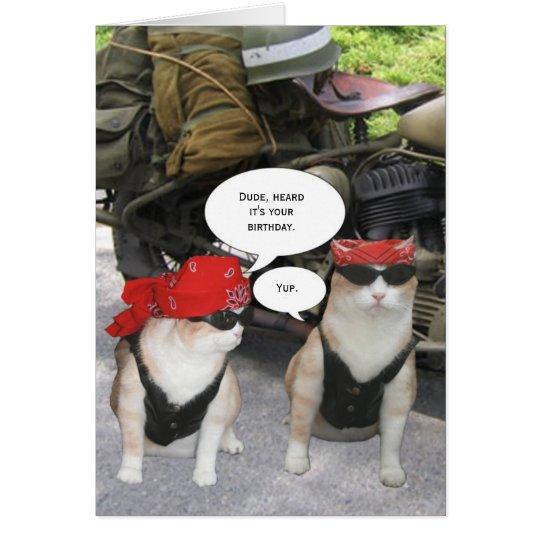 Customisable Biker Cat Card