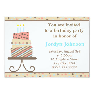 Customisable Birthday Cake Party Invitation