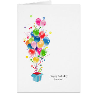 Customisable Birthday Cards Colourful Balloons