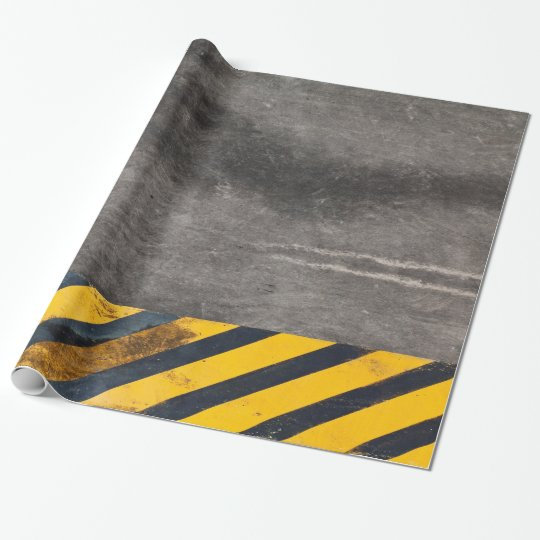 Customisable Black and yellow hazard lines Wrapping Paper
