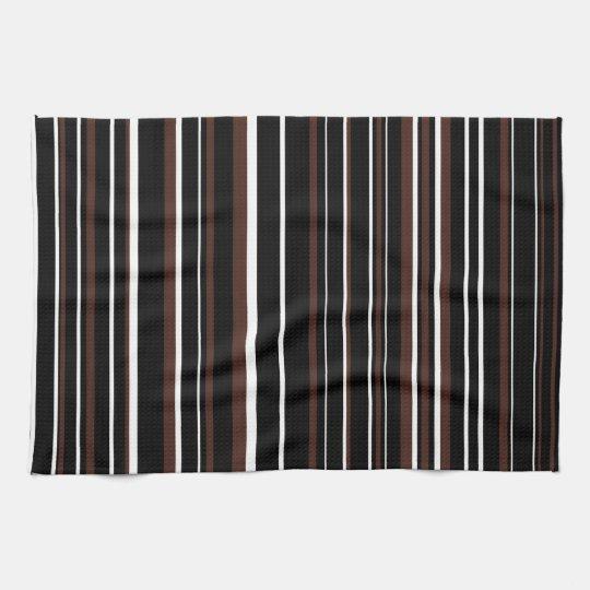 Customisable Black, Brown, & White Stripe Tea Towel