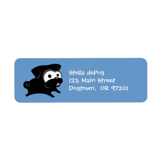 Customisable Black Pug 2 Return Address Labels