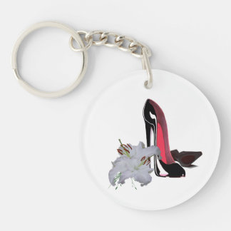 Customisable Black Stiletto and Lilies Key Chain