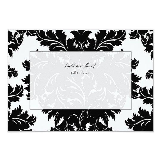 Customisable Blank Black Damask Card