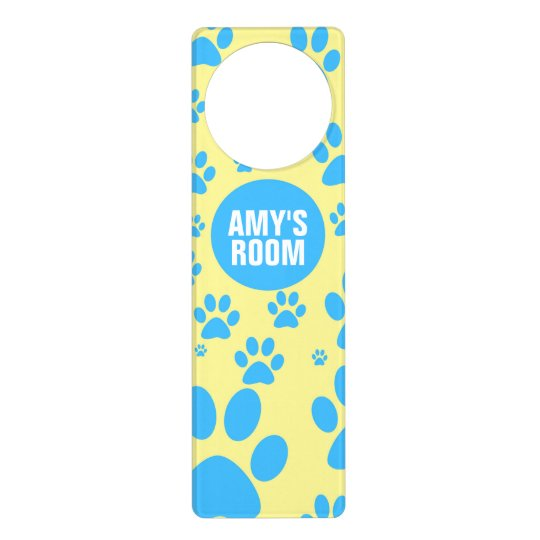 Customisable Blue and Yellow Paw Print Door Hangers