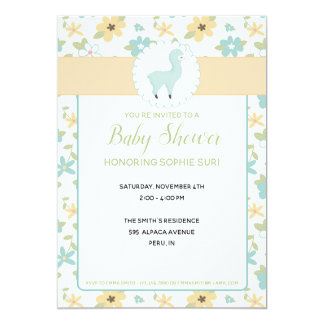 Customisable Blue Little Llama Baby Shower Invite