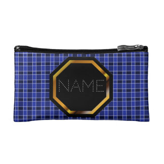 Customisable Blue Plaid Cosmetics Bag Cosmetic Bags