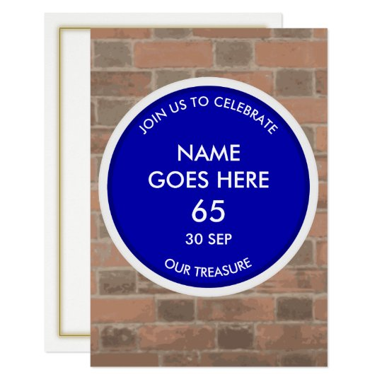 Customisable Blue Plaque Tribute Party Invitation
