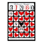 Customisable bridal bingo game red black card