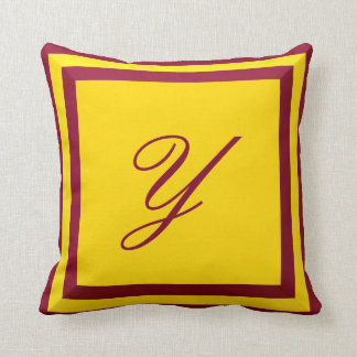Customisable Burgundy and Gold Monogram Pillow