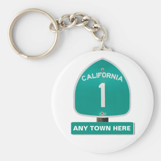 "Customisable CA Highway 1 ""Any Town Here"" Keychain"