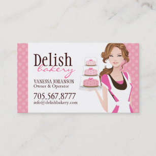 customisable cake bakery business card - Bakery Business Cards