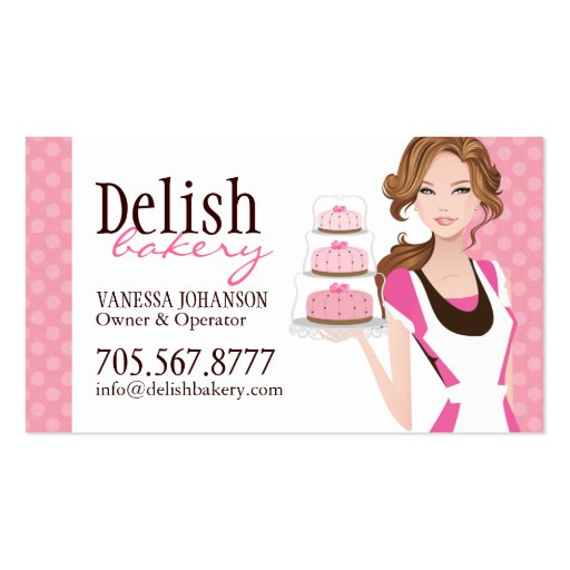 Customisable cake bakery business card zazzle for Cake business card ideas