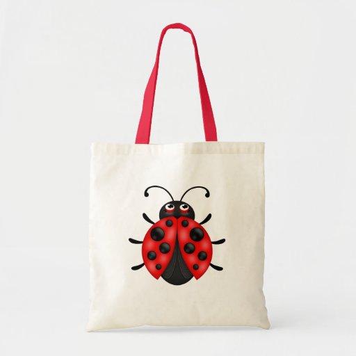 Customisable Cartoon Red Ladybug Canvas Tote Bag