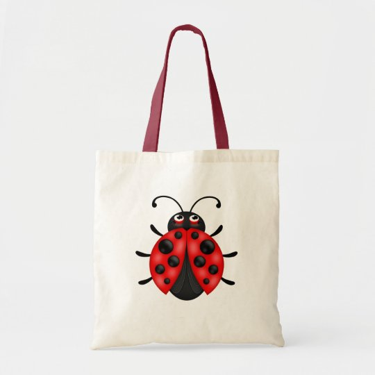 Customisable Cartoon Red Ladybug Canvas Tote Bag
