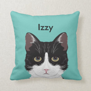 Customisable Cat Name - Black and White Tuxedo Cat Cushion