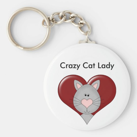 Customisable Cat Valentine - Grey - Add you text Key Ring