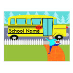 Customisable Catching the School Bus Postcard