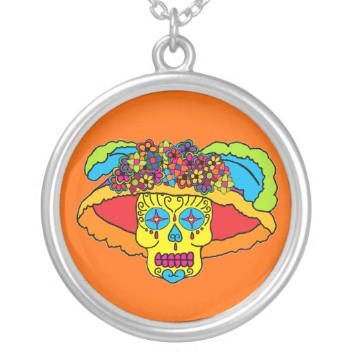 Customisable Catrina Sugar Skull Round Pendant Necklace