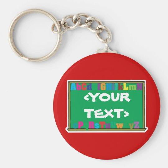 Customisable Chalkboard, <YOURTEXT> Basic Round Button Key Ring