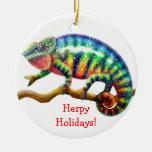 Customisable Chameleon Holiday Ornament