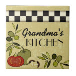 Customisable chequered kitchen wall plaque small square tile