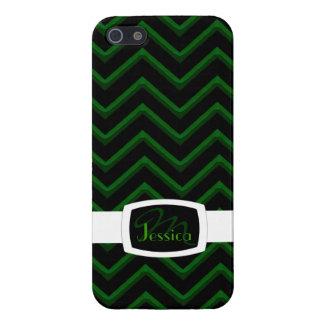 Customisable Chevron Emerald/Green (Monogram) Case For iPhone 5/5S