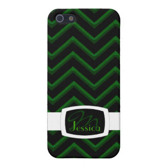 Customisable Chevron Emerald/Green (Monogram) iPhone 5 Case