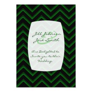 Customisable Chevron Emerald/Green (Wedding) 13 Cm X 18 Cm Invitation Card