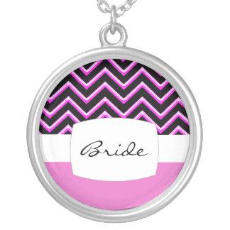 Customisable Chevron Hot Pink (Wedding) Round Pendant Necklace