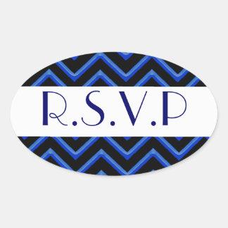Customisable Chevron Metallic Blue Wedding Sticker