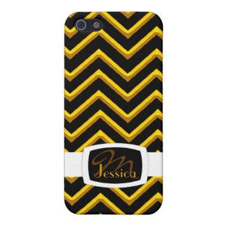 Customisable Chevron Metallic/Golden (Monogram) iPhone 5 Cover